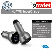 Original Huawei Super Charge Car Charger Fast Charge 5A with Cable (Silver / Black) AP38
