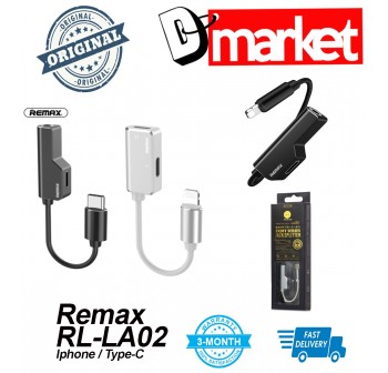 Original Remax RL-LA02 jack splitter for Iphone & Type-C RL-LA02i RL-LA02A