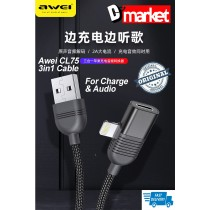 Original Awei CL75 3in1 Iphone Cable and audio converter for Charging Data transfer audio converter