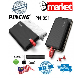 Original Pineng PN-851 10000mah Power Bank with Built in cable and Iphone Type-C adaptor