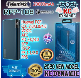 Original Remax RPP-108 20000mAh 5A Fast Charge PD Qualcomm 3.0 Power Bank QC4+ QC3.0 FCP VOOC AFC SCP FSCP PE PPS - KC DYNAMIC